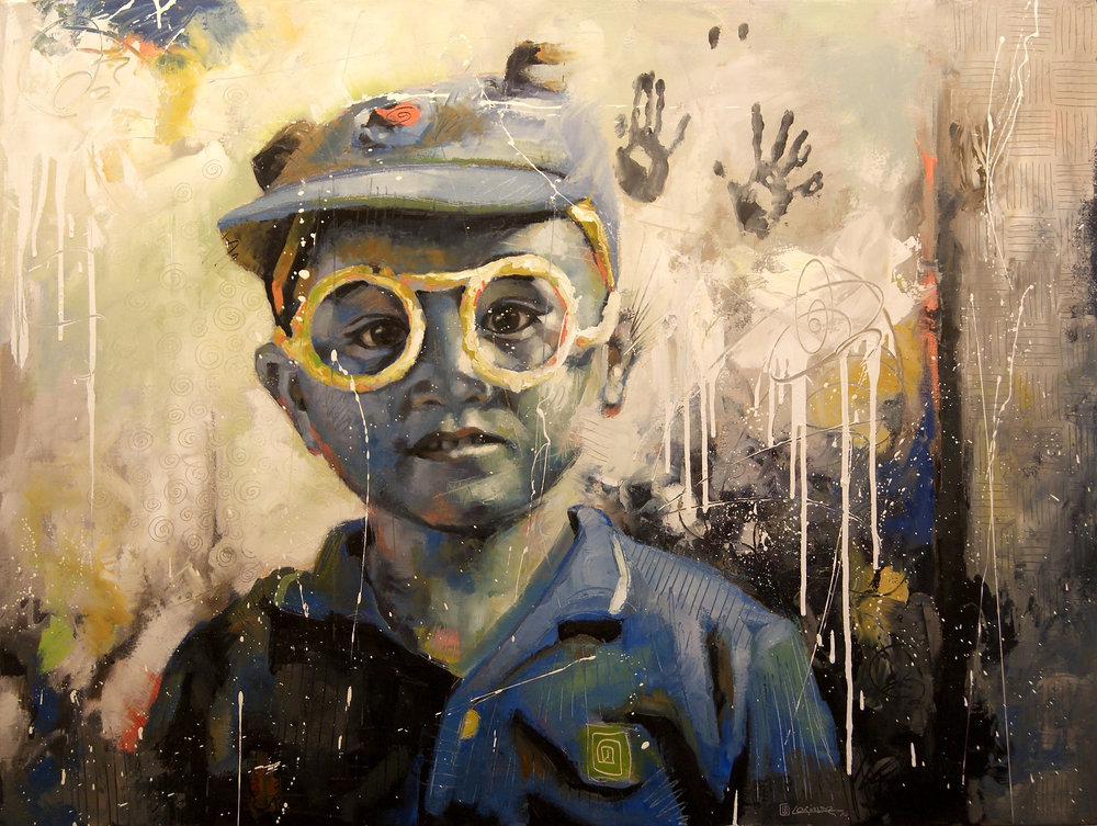 "Boy In Blue (Srey Sambo) (36"" x 48"")"