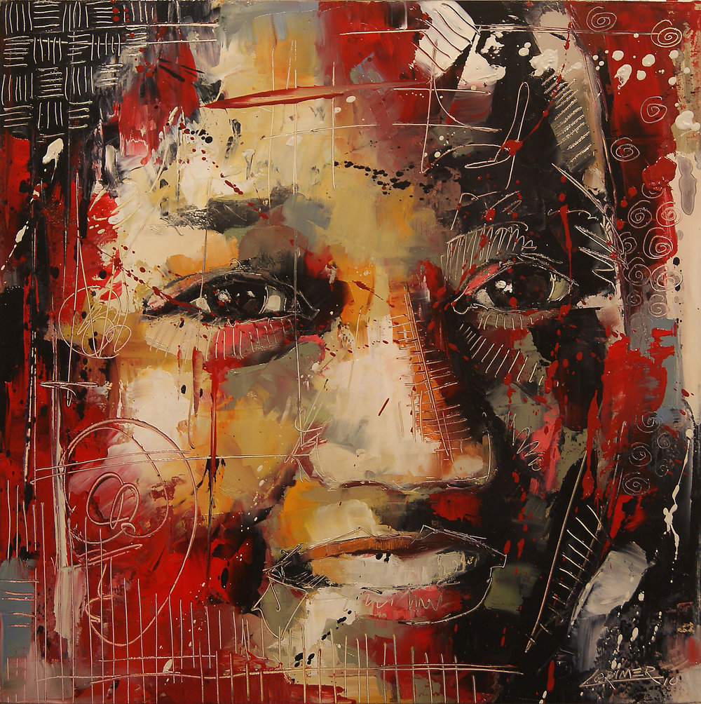 "Girl in Red (16"" x 16"")"