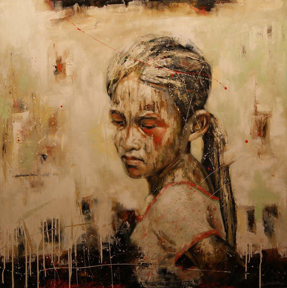 """Girl in White (48"""" x 48"""")"""