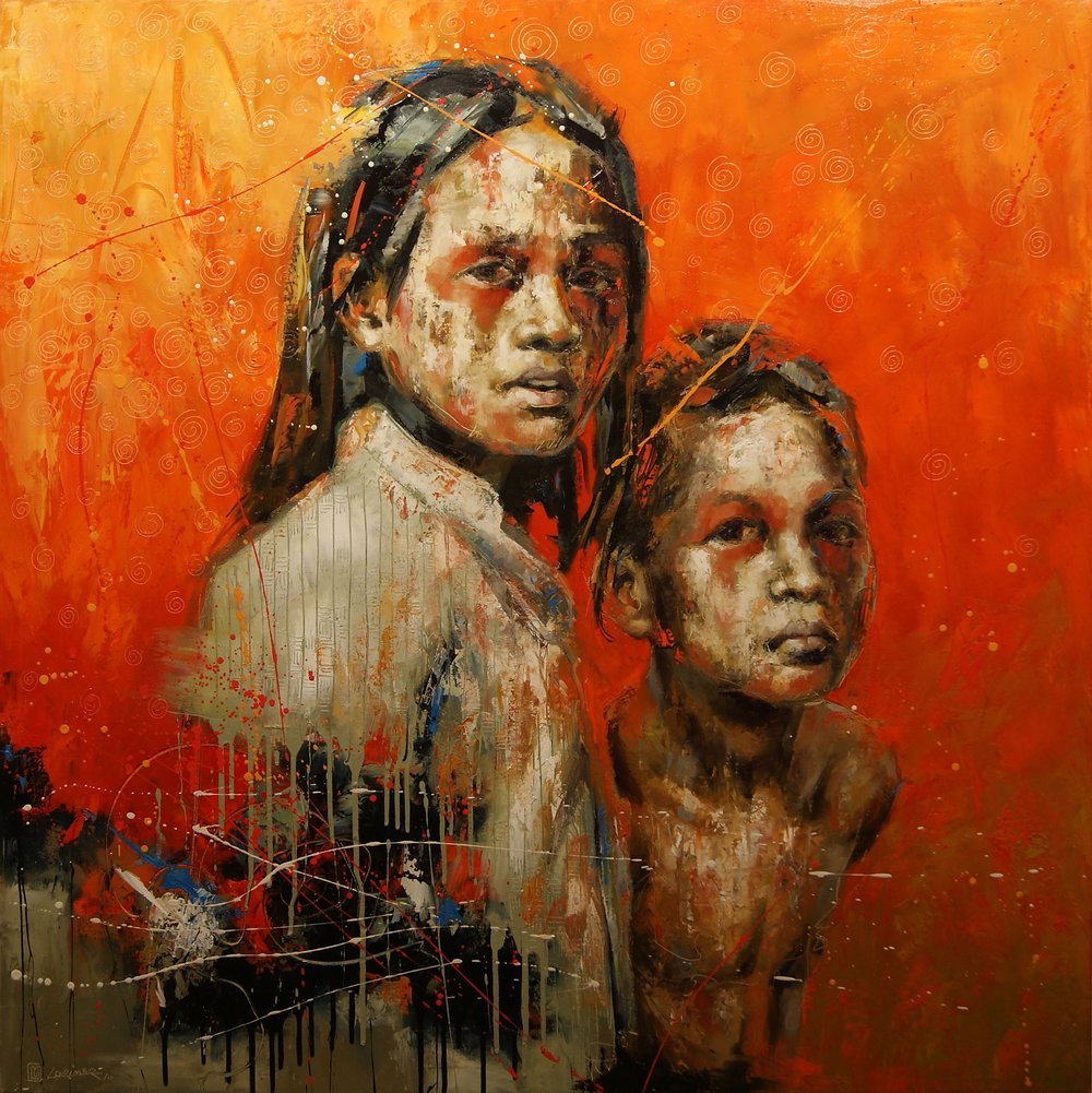 "Kids in Orange (48"" x 48"")"