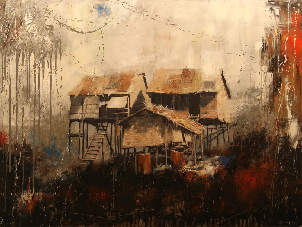 "Living on the Mekong (36"" x 48"")"