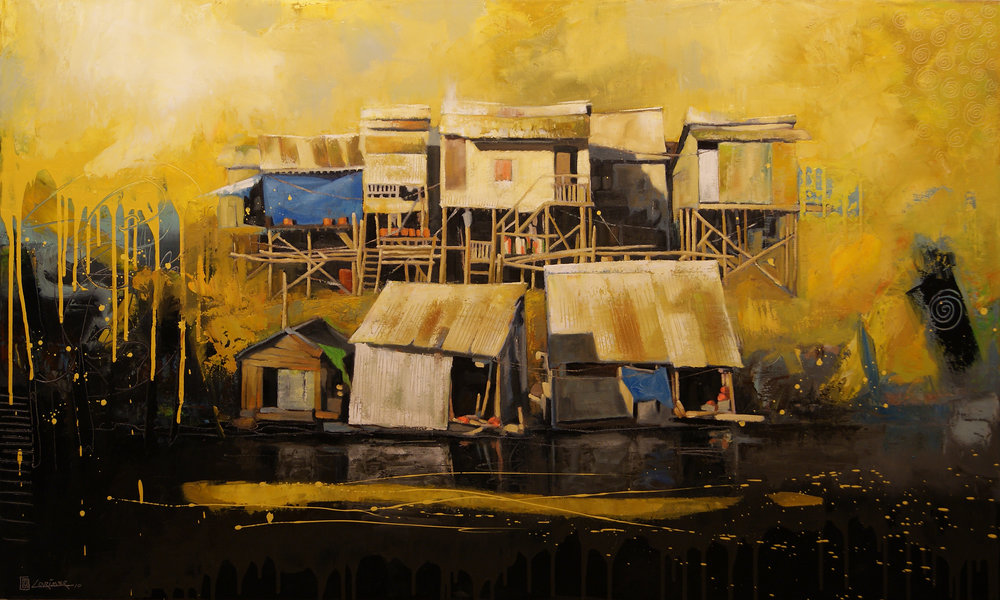 "Mekong in Yellow (36"" x 60"")"