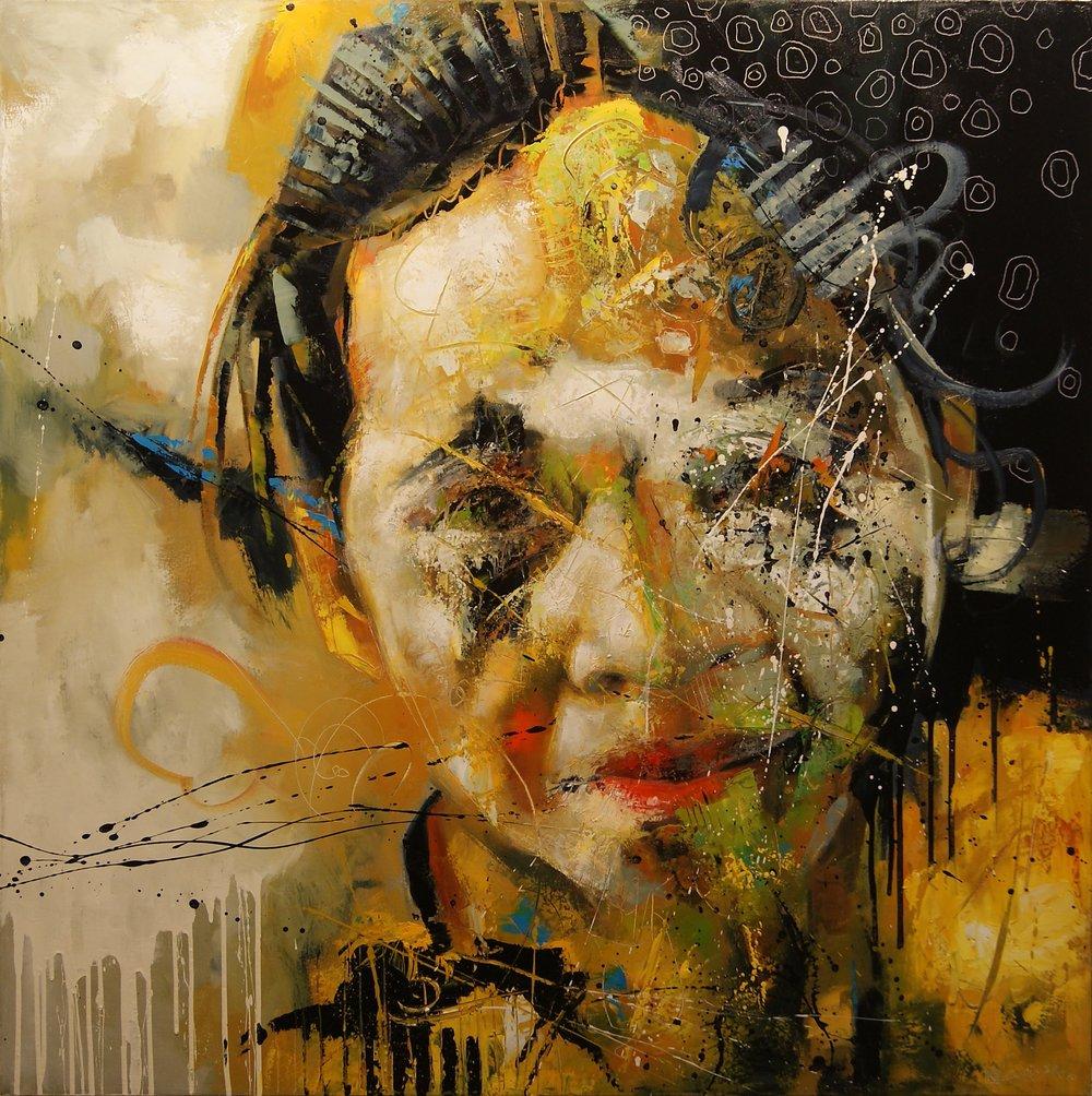 "Yellow Sunrise Girl (48"" x 48"")"