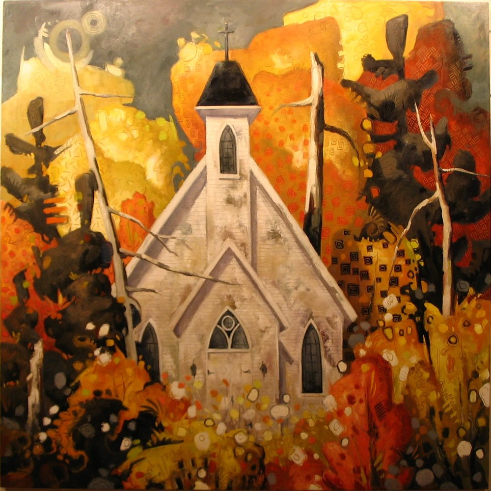 "Church in Autumn (60"" x 60"")"