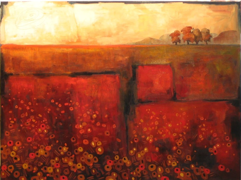 "Field in Red (36"" x 48"")"