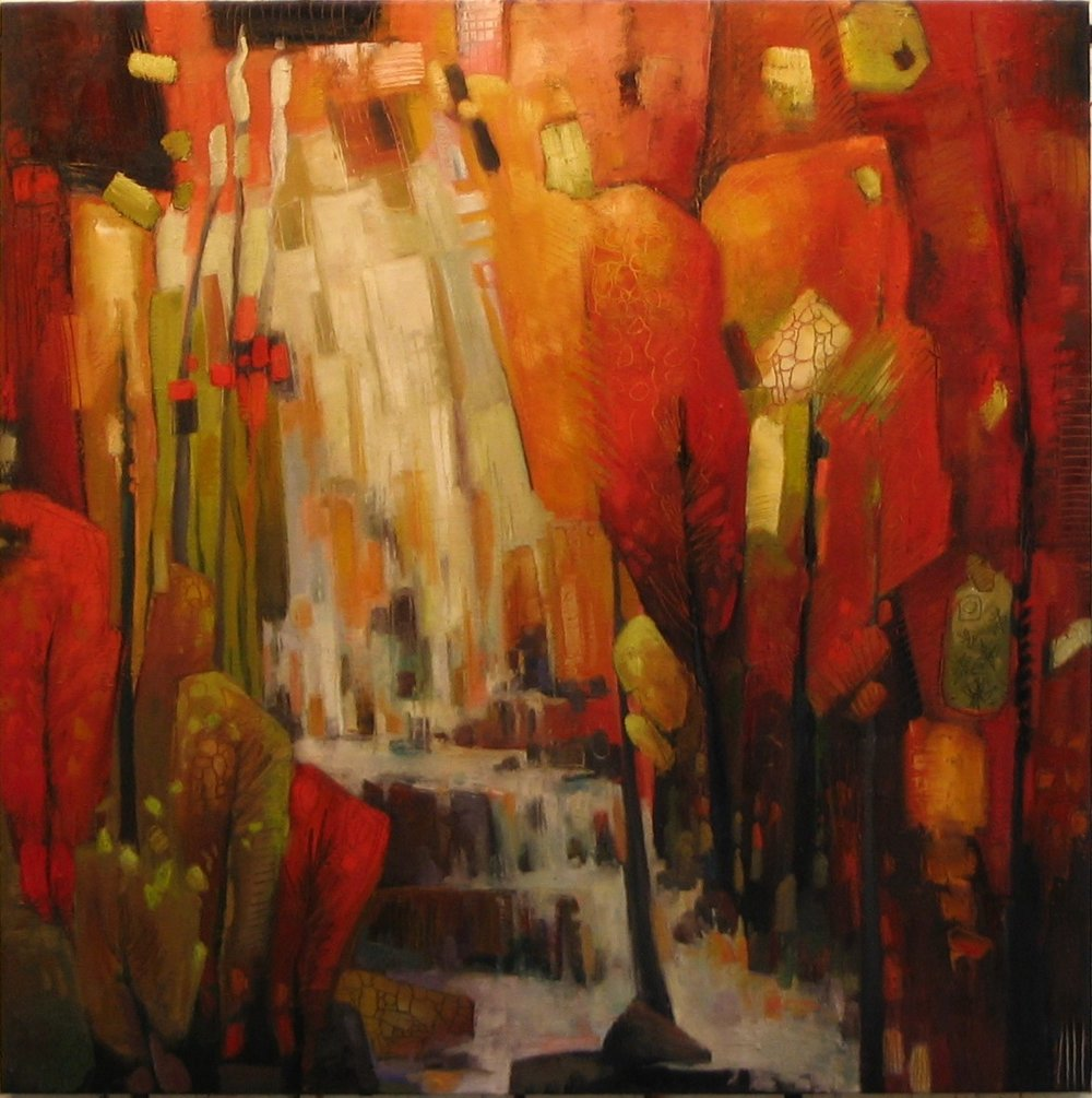 "Waterfall in Red (36"" x 36"")"