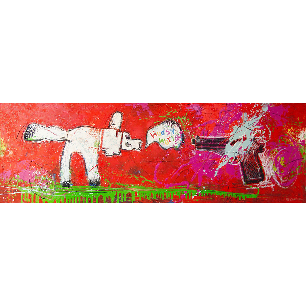"Tamey Tamed the Gun (20"" x 60"")"
