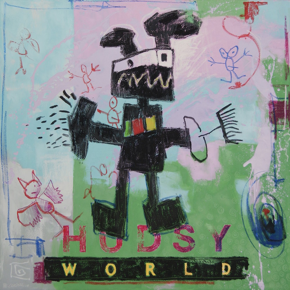 Hudsy World - SO WHAT'S IT LIKE to paint like a child? To find this out Lorimer turned to a very gifted young boy named Hudson Evans. Hudson is Lorimer's five year old grandson who lives within the spectrum of Autism.