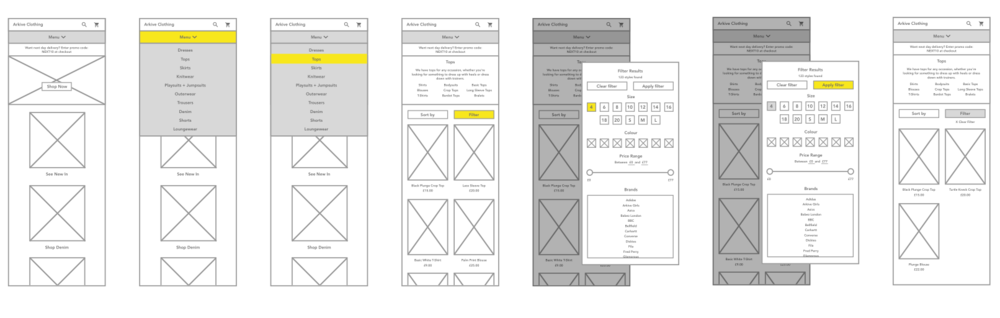 Wireframes of marketplace experience on mobile