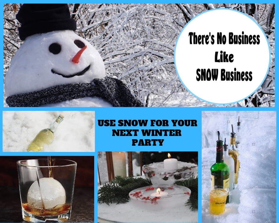 For all my friends up North, don't let the snow stop your weekend party. here are some cool ways to use the snow to actually help with your entertaining.