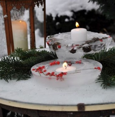 use some jello ring mols to make beautiful ice rings that double as outdoor candle holders.