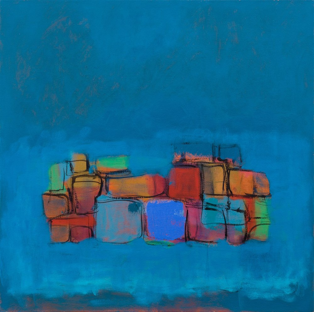 Wall (Blue)   76x76cm (30x30in) Oil on canvas