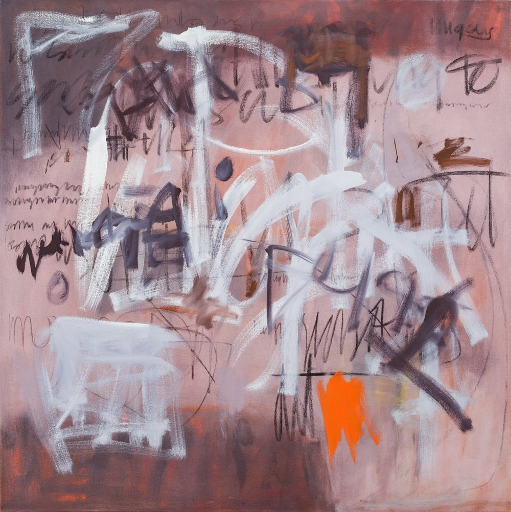 Graffiti   108x108cm (42x42in) Oil and charcoal on canvas