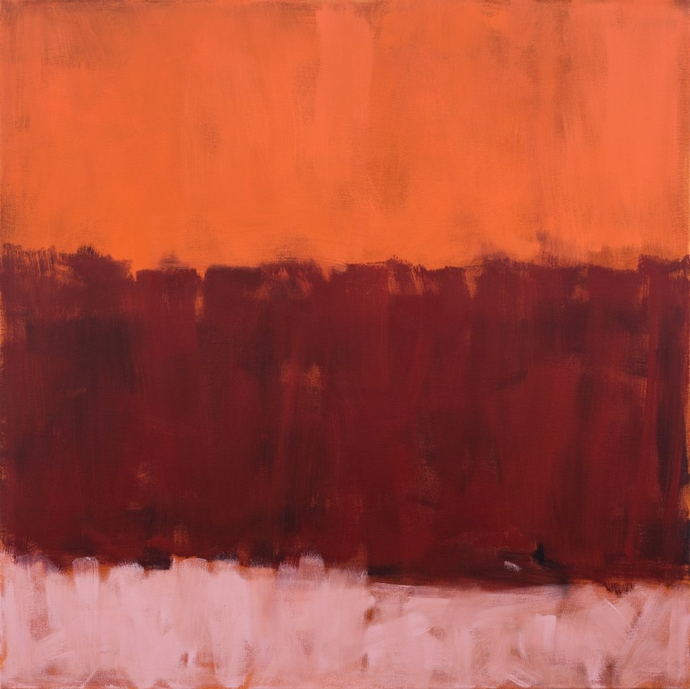 Double Horizon (Reds)   108x108cm (42x42in) Oil on canvas