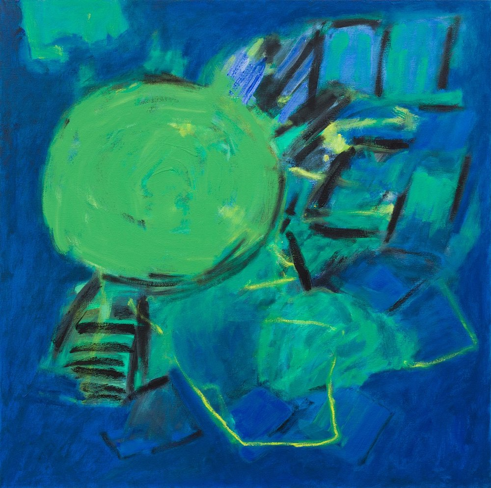 Planes & Grids (Blue)   76x76cm (30x30in) Oil on canvas
