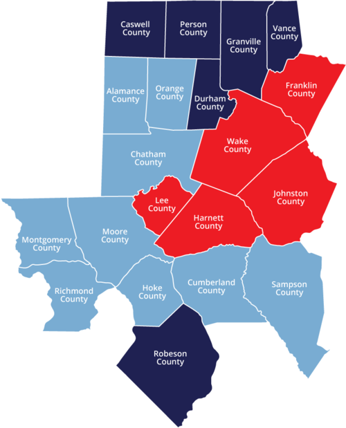 Map of NC Triangle Coalition's Three Lead Agencies