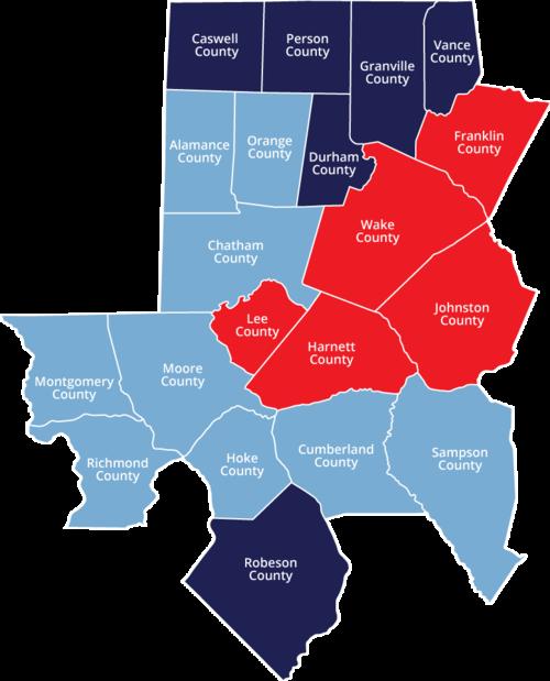 Map of NC Triangle Coalition's Three Lead Agencies
