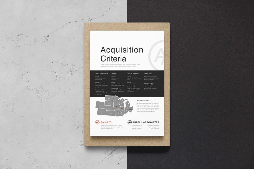 Acquisition Criteria Flyer Design