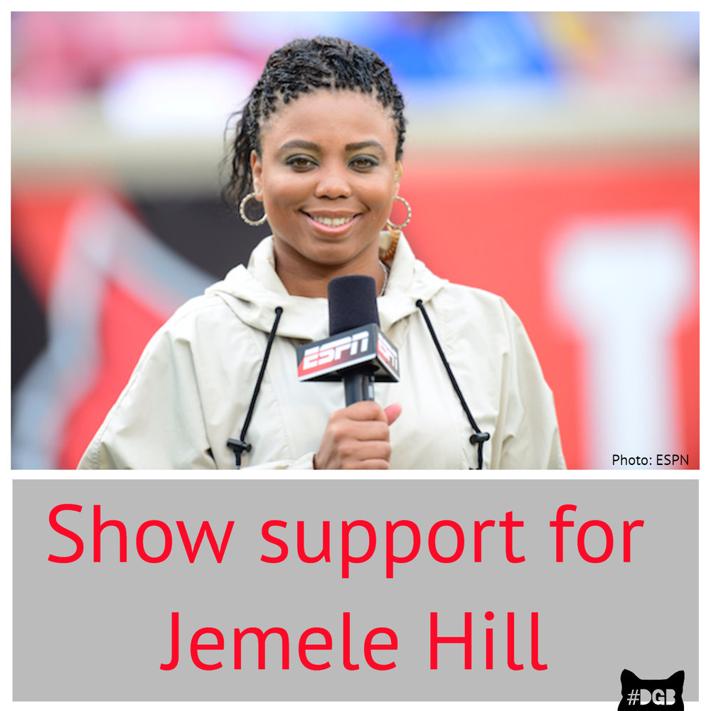 Your DGB for today is to support ESPN reporter, Jemele Hill. If you haven't been on twitter lately, or heard any news, you might not have heard the controversy surrounding the ESPN reporter, Jemele Hill. On 9/11/2017 Hill tweeted that Donald Trump was a white supremacist. I mean...the statement isn't a lie, and since then people have been coming hard for her. Press Secretary Sarah Huckabee Sanders even went as far as to say that it was a fire-able offense and that Hill should lose her job with ESPN. The president even did some early morning tweeting regarding this issue because he's a small, fragile man. https://twitter.com/realdonaldtrump/status/908651641943003136 What we want you to do today is to express your support for Jemele Hill. You can either retweet her or tweet your support out to her. You can find the painfully truthful tweet here: https://twitter.com/jemelehill/status/907391978194849793 You can also contact ESPN and urge them to back her a little harder than they are right now. Another option is to start watching her on ESPN's SportsCenter at 6:00 pm. Donald Trump is a white supremacist. People shouldn't lose their jobs or have their lives threatened for speaking the truth. We need more people like Jemele Hill, so stand up and support her so others feel encouraged to come forward.