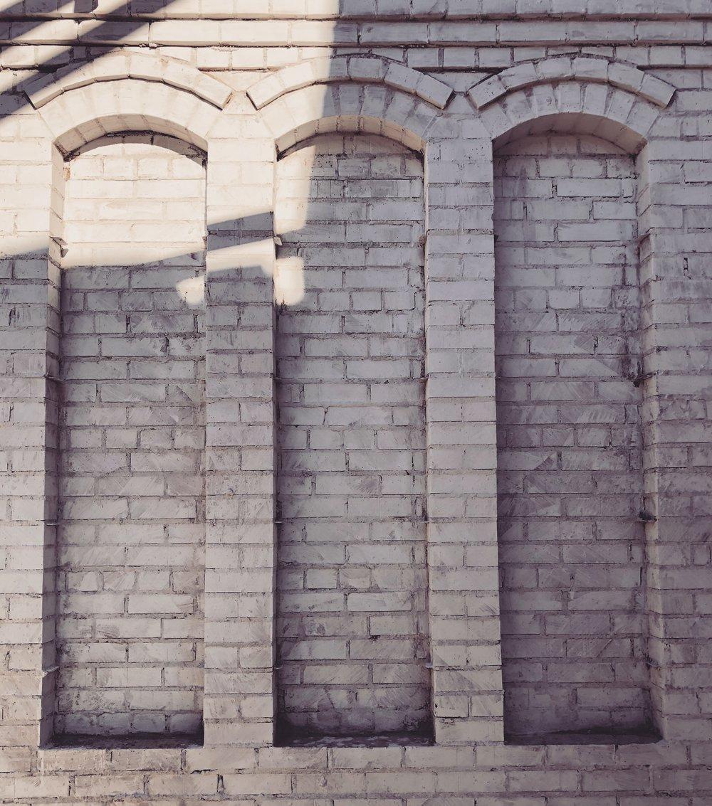 brick masonry shelving and limewash