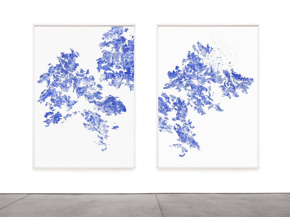 Claire Trotignon, Gentle level & extension, Easy quake Galileo  Drawing, collage of blue silkscreen print on silk paper, 126 x 170 cm each, 2015