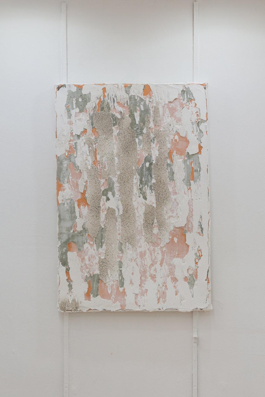Manoela Medeiros,  Ruine IV , (série août) 2017  Peinture et enduit sur toile 40 x 60 cm