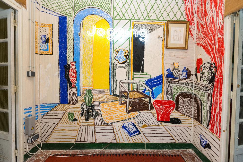 Alexandre Benjamin Navet, Fresque in situ, pastels à l'huile, 2017