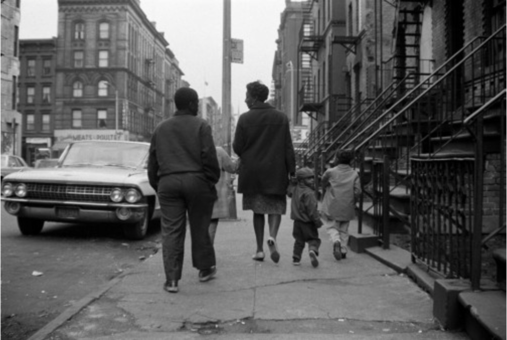 Image immediately above: A Harlem Family, Gordon Parks, 1967, Eighth Avenue & 123rd Street, New York. Courtesy, Gordon Parks Foundation  Images below (and banner): Beneath these restless skies, Harriet Dedman, 2015- 2016, Eighth Avenue & 123rd Street, New York. Same location as above.