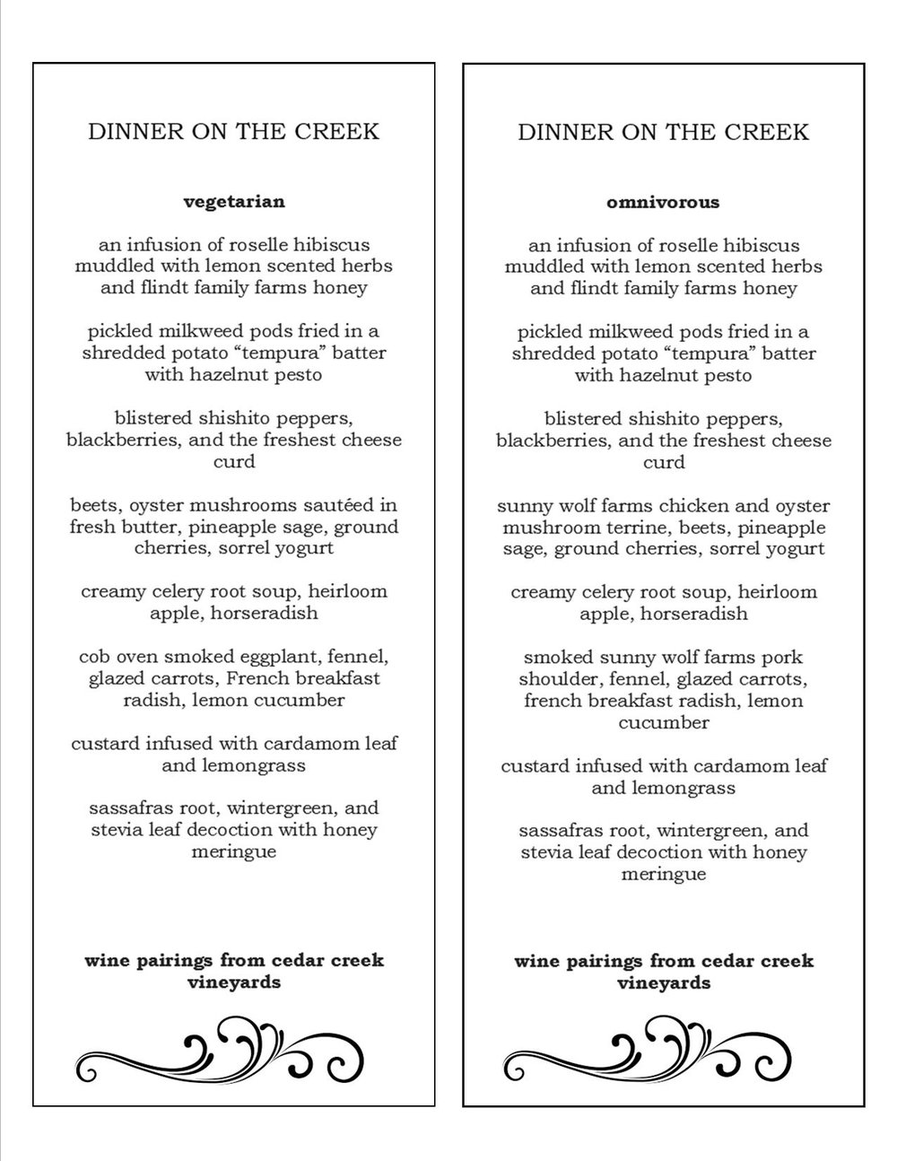 Dinner on the Creek Menu