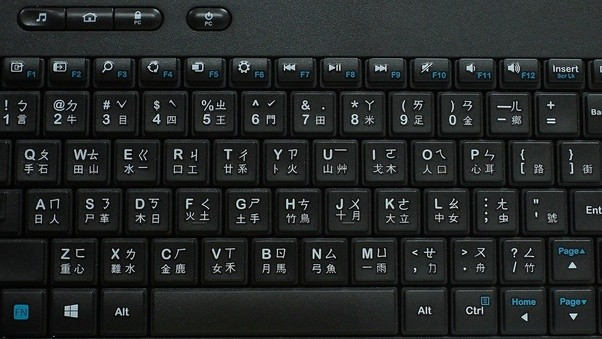 chinese keyboard with four possible input systems
