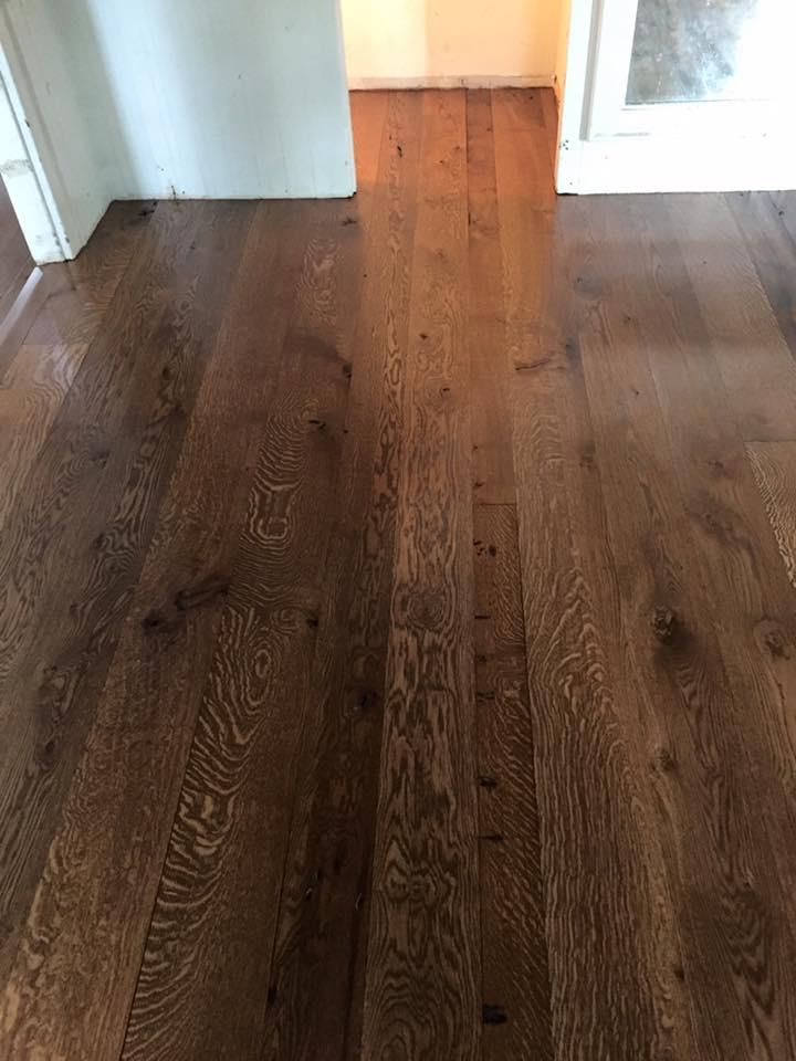 Reclaimed hardwood floor stained maplewood, nj
