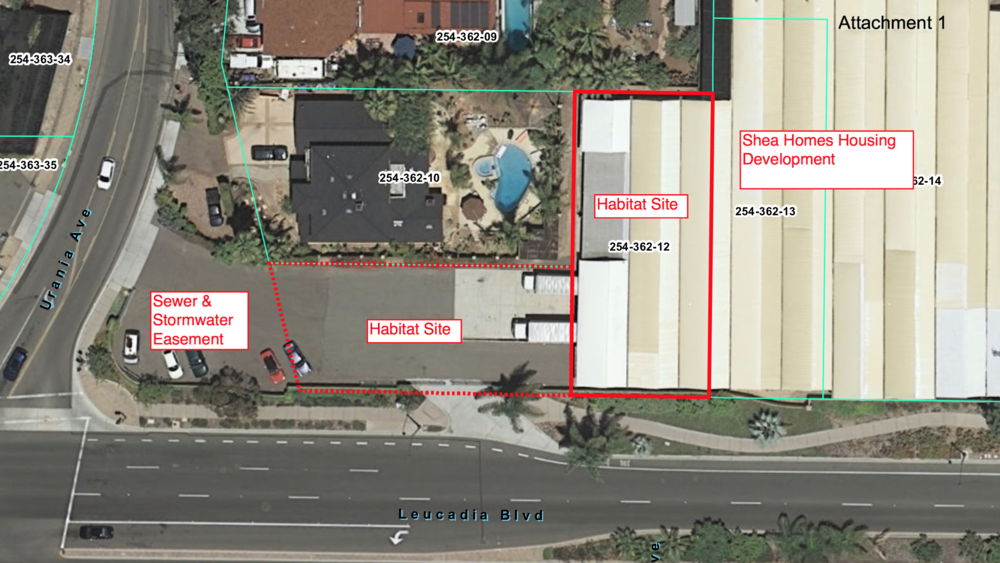 The City is negotiating a lease with Habitat for Humanity for two city-owned parcels at Urania Ave. and Leucadia Blvd.