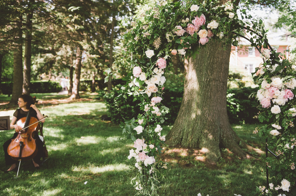 amanda cowley events niagara wedding planner kurtz orchard gracewood estate tree ceremony floral arch arbour string duo