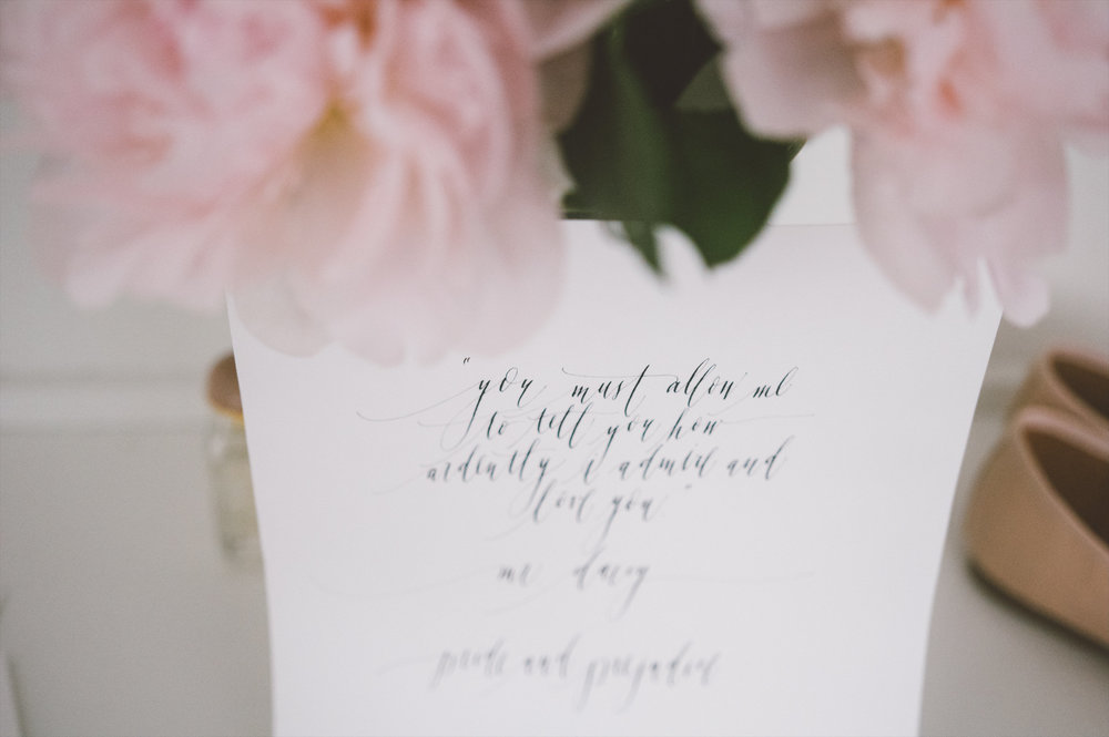 amanda cowley events niagara wedding planner kurtz orchard bride gown peonies calligraphy vows pride and prejudice