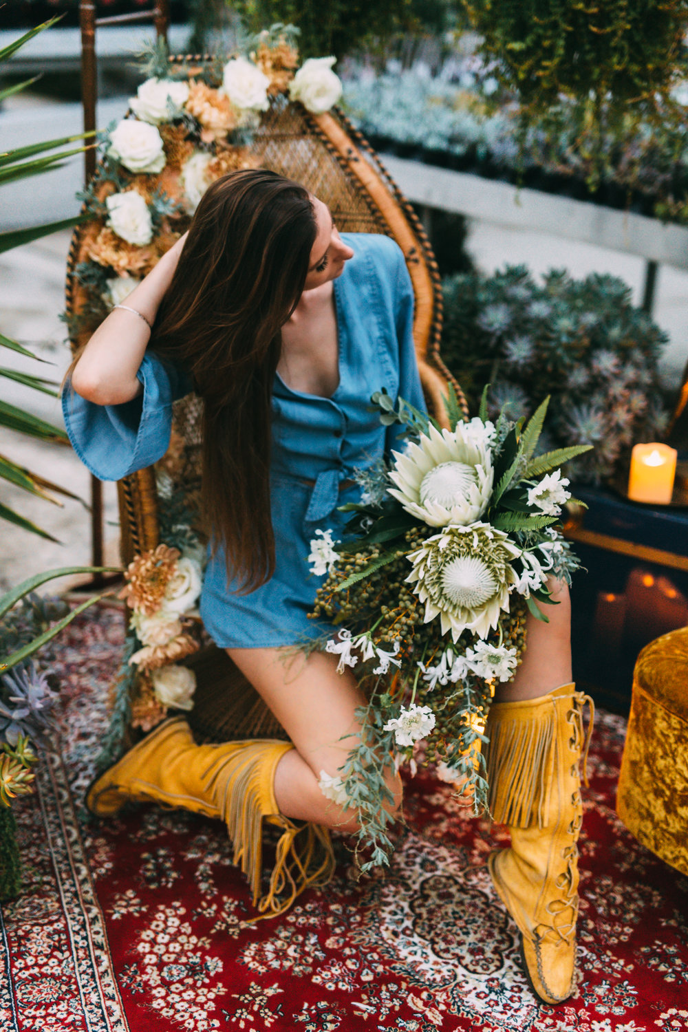 amanda cowley events niagara wedding planner free spirit styling bohemian style peacock chair denim romper