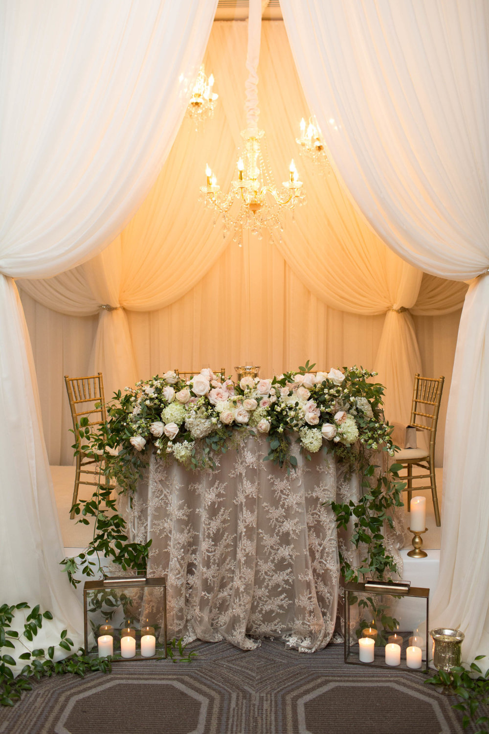 White Oaks Niagara Wedding Head Table Design Drapery Lanterns Candles Flowers Sweetheart Table