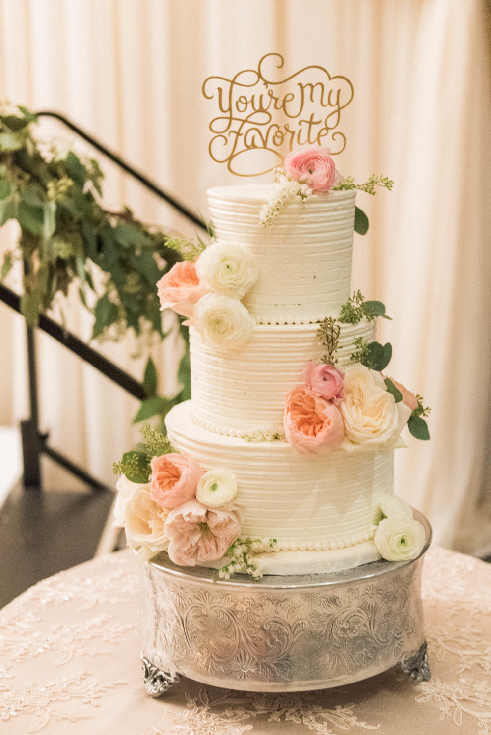 Niagara Wedding Cake Buttercream You're My Favourite Topper Garden Roses