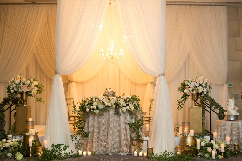 Niagara Wedding Head Table Sweetheart Table Design Drapery Chandeliers White Oaks Candles Lanterns