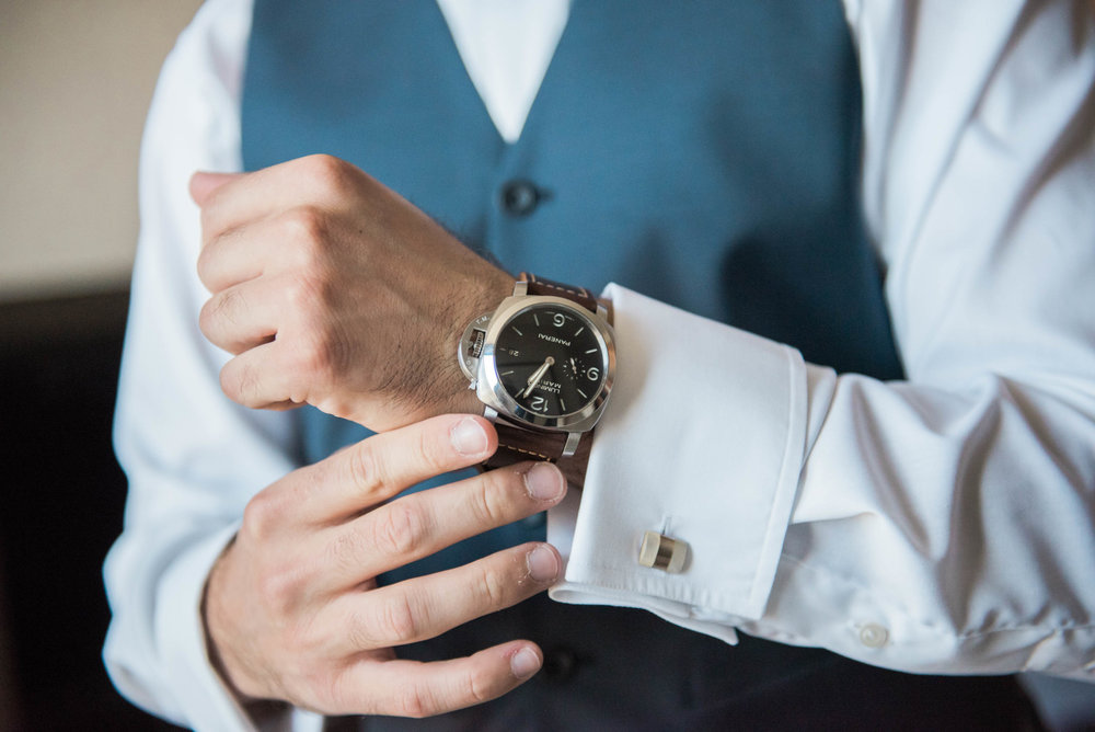 Niagara White Oaks Summer Wedding Groom Details Watch Gift From Bride