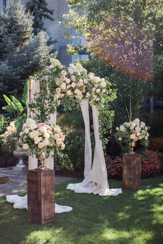 Niagara White Oaks Summer Garden Wedding Lush Florals Arbour Drapery Canopy