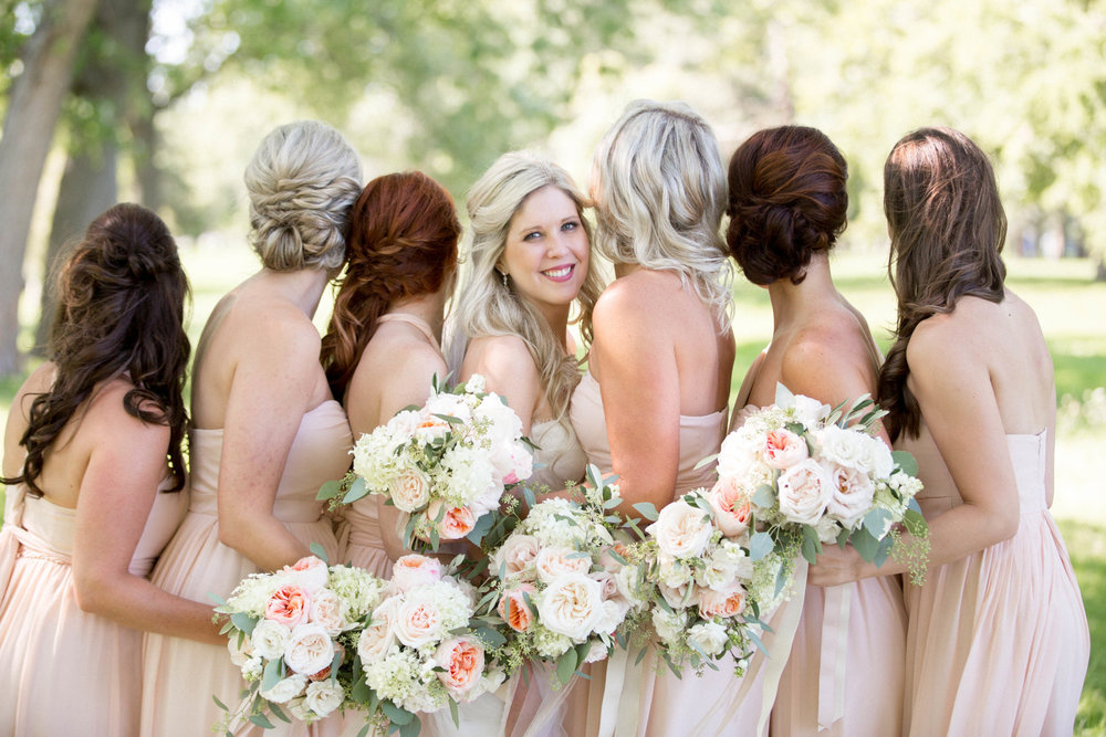 Niagara Vineyard Wedding Photos Blush Bridesmaids Bouquets Chiffon Ribbon