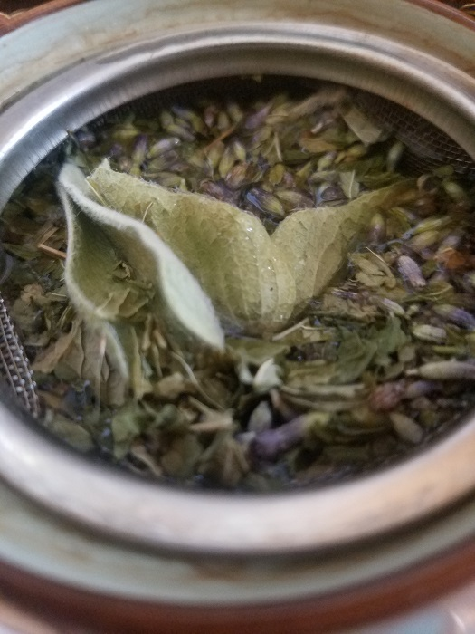 Dried Spearmint, lavender buds, and sideritis
