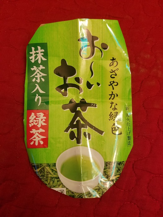 お茶 (Ocha) - Japanese Green Tea. In the Red box with white font -  ryokucha  (緑茶, green tea)