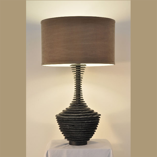 Hand Cut And Stacked Slate Penn Lamp