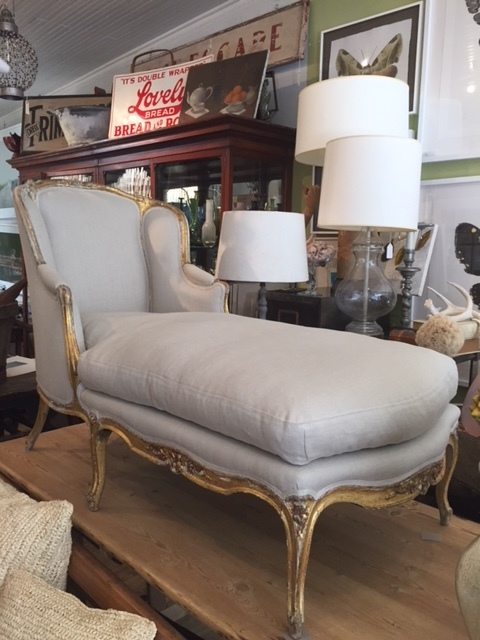 19th C Gilded Chaise Reupholstered In Linen Ruby Beets