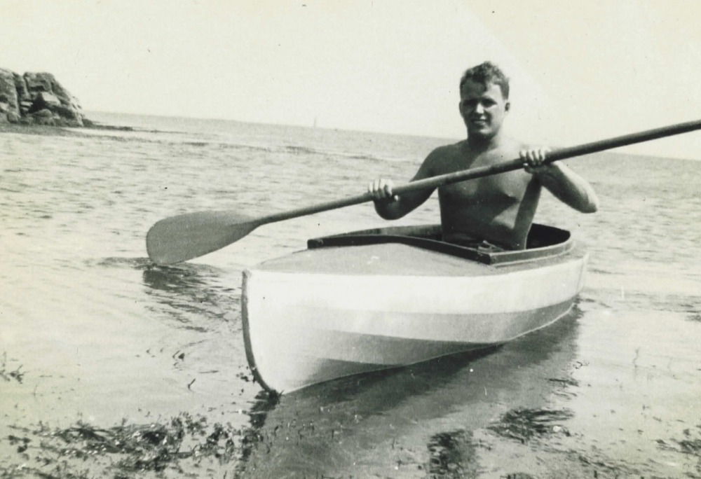Arthur Martin experimenting in an early sea kayak