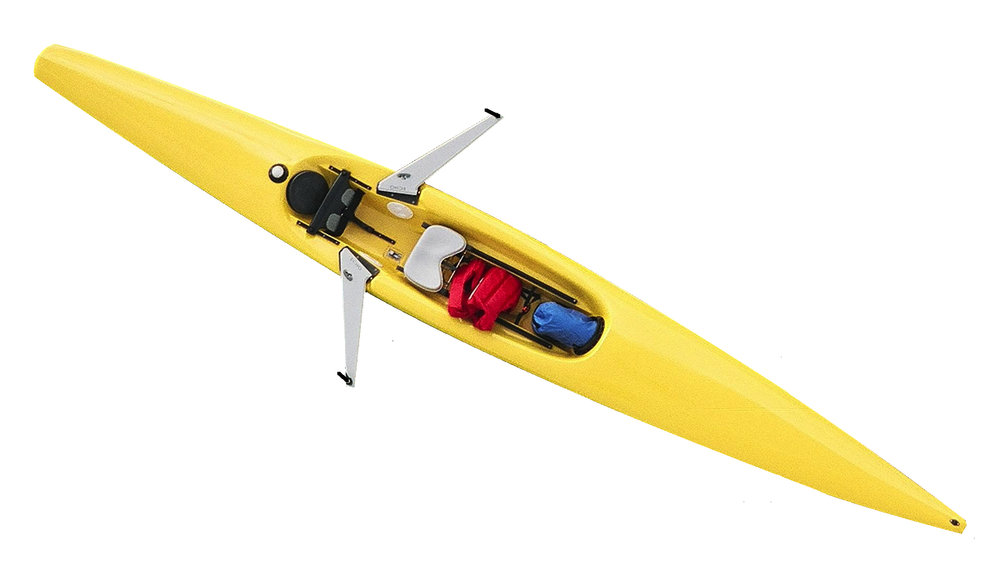 The Echo Islander with storage fore and aft (shown with tent).  Available in yellow, red, and wasabi.