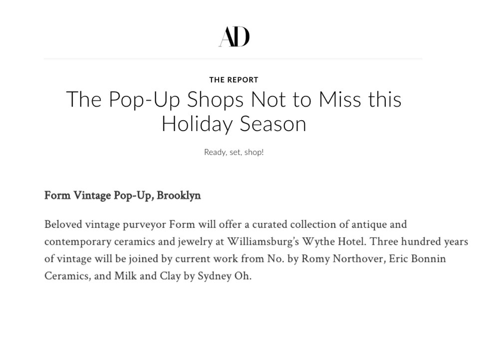 Architectural Digest   'Pop-Up Shops Not to Miss'