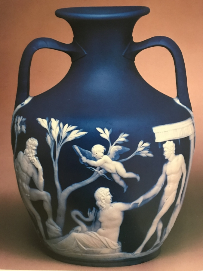 Solid blue jasper Portland Vase of which a number were made in 1971. This particular vase was presented to the British Museum by Josiah II in 1802.