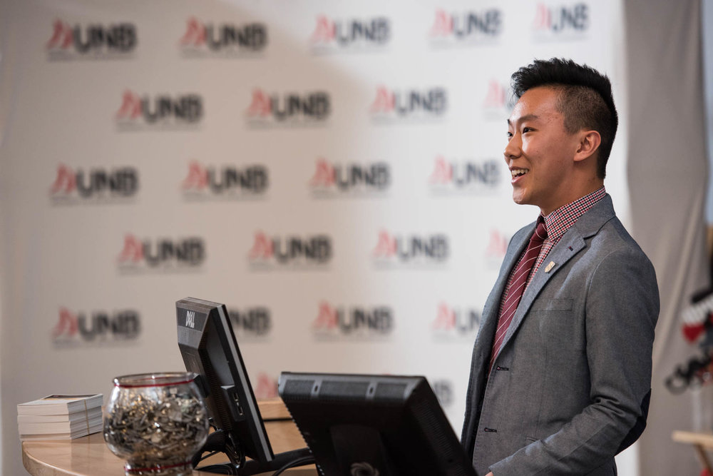 Daniel He Speaking at the 2017 Engineering Iron Pin Ceremony Courtesy: Joy Cummings of UNB Media